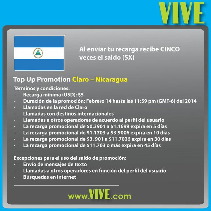 En el día de los #enamorados, Envía una #recarga #movíl a tus seres queridos en #Claro #Nicaragua: ellos reciben CINCO veces el saldo! www.vive.com