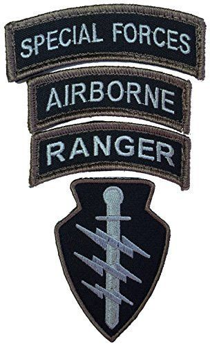 "For Highest Quality Purchase Only From Patch Squad Special Forces 3.3""x 1"" Ranger 2.75""x1"" Airborne 2.75""x1"" - High Quality Embroidered Patch - Velcro Hook backing for attachment to Tactical Hats and"