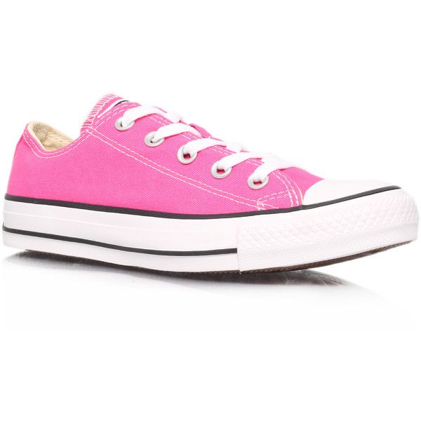 Ct Low Seas Converse Pink ($70) ❤ liked on Polyvore featuring shoes, sneakers, converse, sapatos, pink, pink flat shoes, flat sneakers, leather trainers, leather sneakers and leather low top sneakers