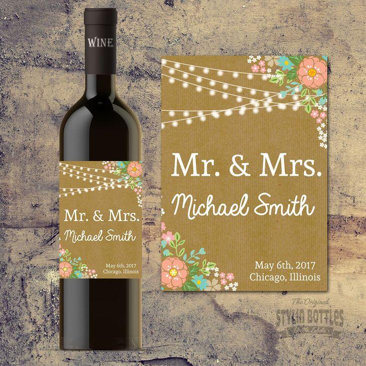 wine wedding shower gift poem%0A CUSTOM RUSTIC WEDDING Decorations  Custom Wine Bottle Label for Weddings   Bride and Groom Wedding