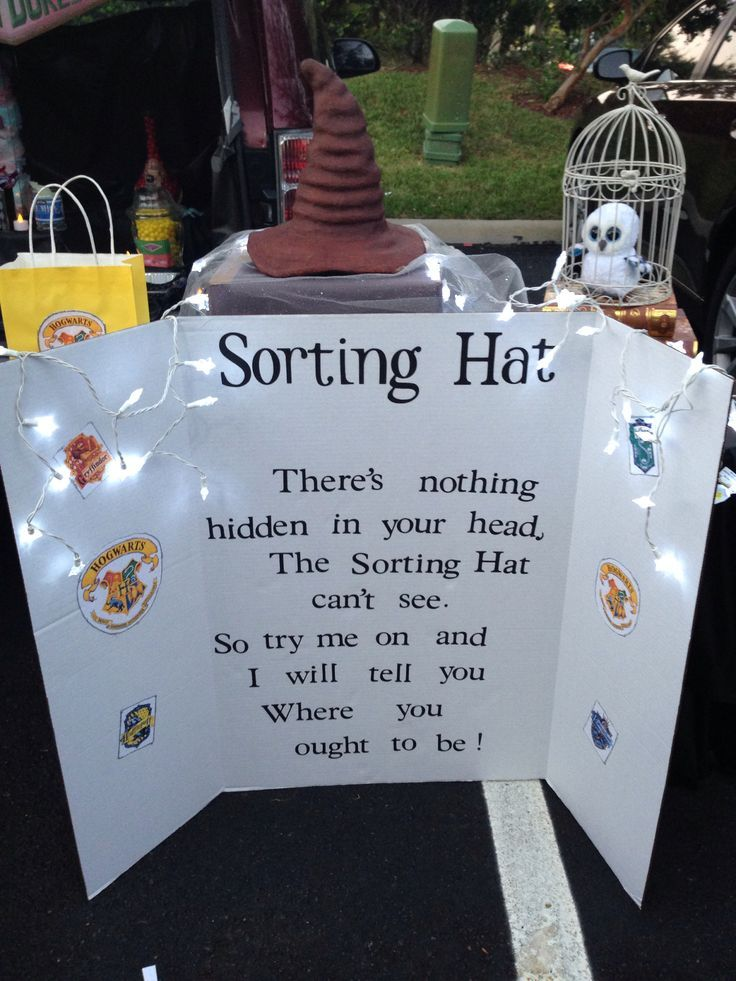 Harry Potter Trunk or Treat Sorting Hat song. Decorations for ...