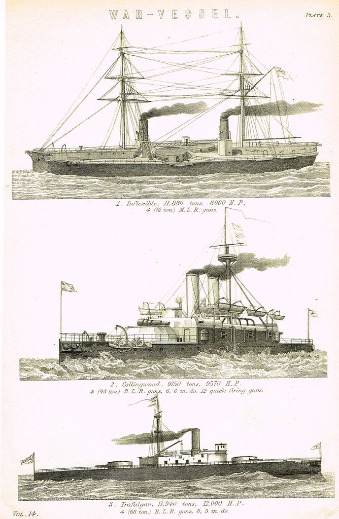 """Fine black & white lithograph featuring three """"WAR VESSELS"""" including Inflexible, Collingwood & Trafalger. The print is 9 1/2"""" x 6"""" and is in very good condition."""