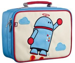 Alexander the Robot Coated Canvas Lunchbox by #BeatrixNY - These insulated lunch boxes are a playful way to keep sandwiches & carrot sticks fresh until lunch time. Made with heavy-duty nylon and machine washable for kid- proof durability and easy cleaning. Back side has a name tag and a zipped pocket. Tested PVC free, lead free, and phthalate free.