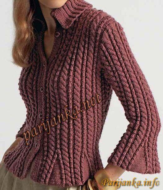 Пуловер с косами 07*Origin' BDF №545