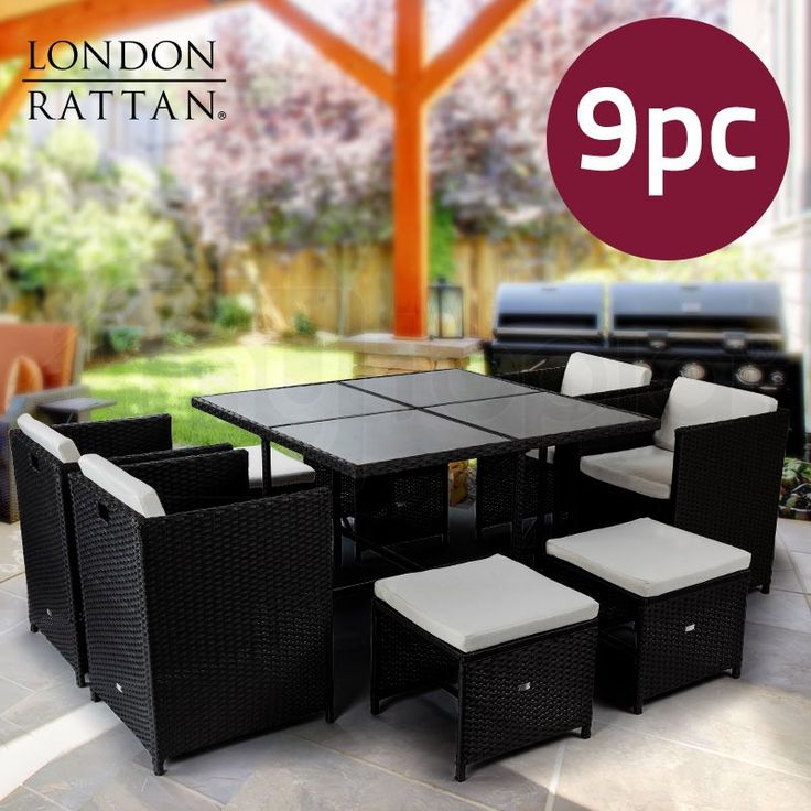 Charcoal 9 Piece Wicker | Shop Outdoor Dining Sets | Mytopia
