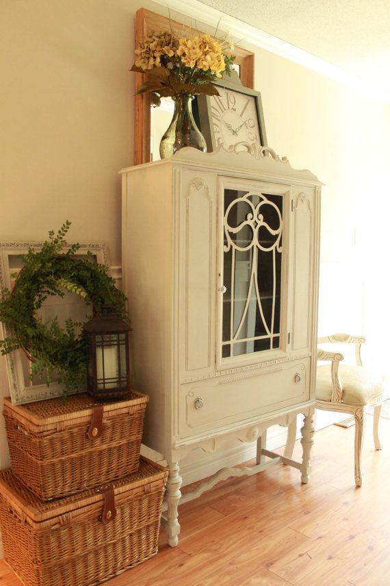 Antique Jacobean China Cabinet by JennyLaneFurniture on Etsy