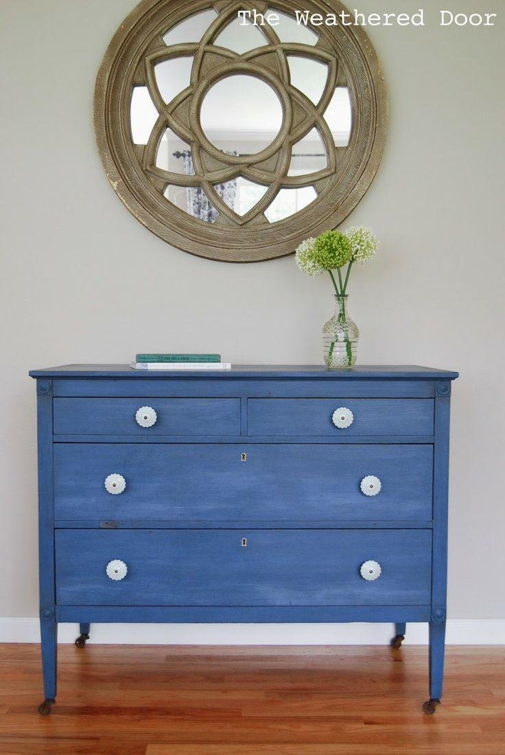 The Weathered Door: A Federal Blue Milk Paint Dresser with Light Blue Knobs