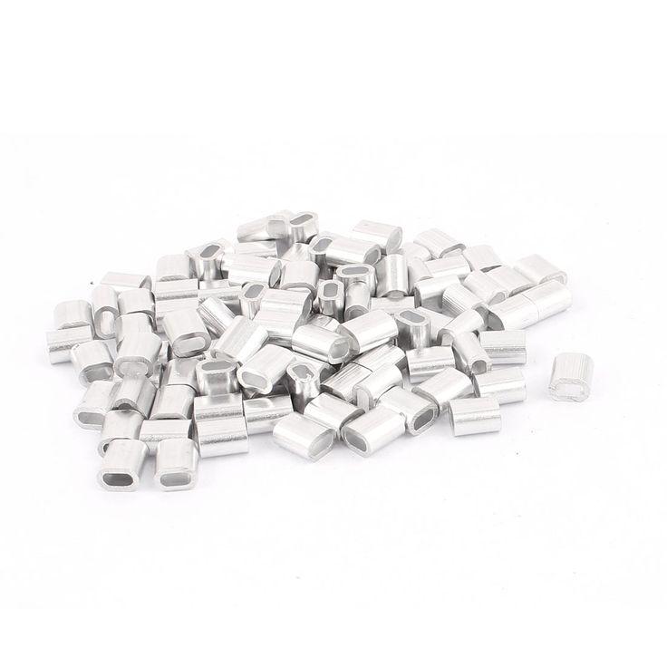"""UXCELL 2 Mm 5/64 """"Staaldraad Aluminium Adereindhulzen Mouwen Zilveren Tone 100 Stks"""