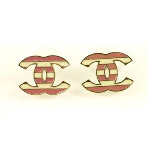 Authentic CHANEL Pink & White Stripped Enamel CC Logo Earrings