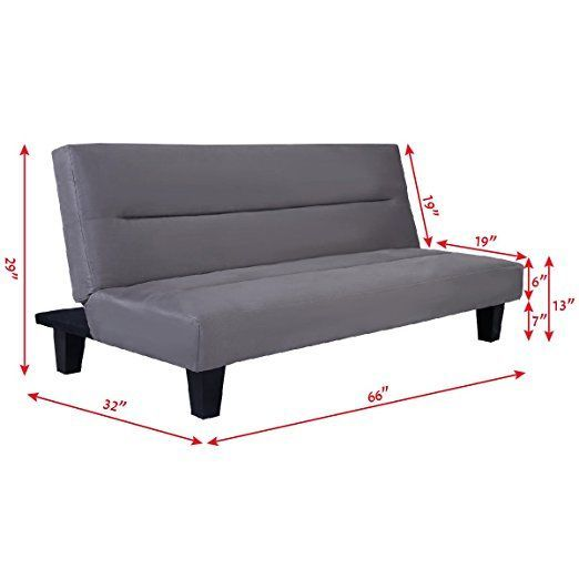 "Tamsun Futon Folding Couch Sofa Bed 6"" Mattress Sleep Recliner Lounger Gray"