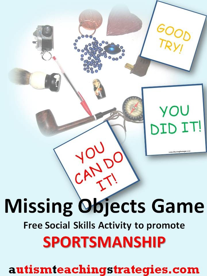 """This is a great social skills game for kids with Asperger's and other autism spectrum disorders.  1.  Put out 8 to 14 pieces of random junk.  2.  One player turns his back, and you remove one object.  3.  The player tries to figure out what is the """"missing object.""""  Meanwhile, the other players compete to see who is the best at encouraging the player trying to remember.  You score these players based on how well they do, and this comprises a separate game."""
