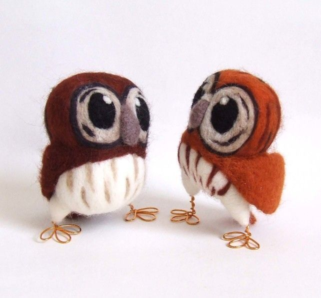 Needlefelted Owl Little Tawny Owl in Ginger Spice Brown