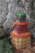 Wrap a gift in these Vintage Cabin Style Plaid Tin Buckets or just create an eye-catching Christmas display. There's a certain charm about rustic North Woods style decor. Knotty pine and classic plaid accents have a down-to-earth quality that seems to induce relaxation. Our Vintage Cabin Style Plaid Tin Bucket Set makes the perfect accent for any home. Each bucket has a lid and handle and they nest together for easy storage when not in use. Set of three in green, yellow and red plaid.