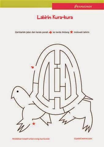 permainan anak untuk PAUD (balita/TK), gambar labirin/maze : kura-kura