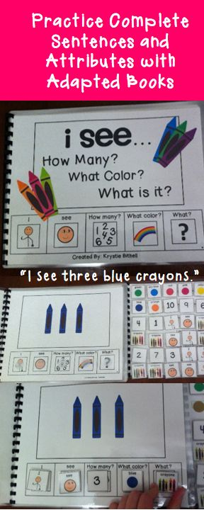 Practice Identifying Attributes with this fun adapted book! Answer: How many? What color? What is it? while creating complete sentences. Repinned by SOS Inc. Resources pinterest.com/sostherapy/.