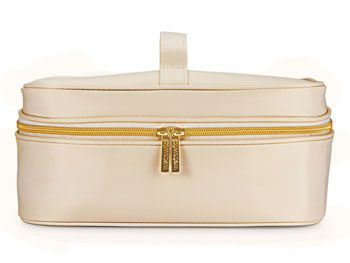 White Colour Cosmetic Bag with Gold Zipper
