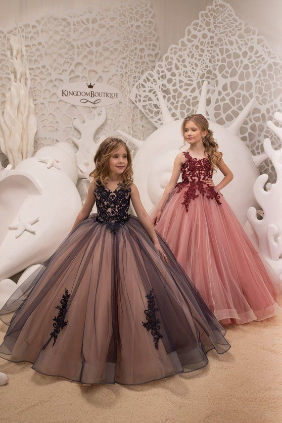 Navy and Pink Flower Girl Dress - Birthday Wedding Party Holiday Bridesmaid  Flower Girl Navy and Pink Tulle Lace Dress 21-074 e1e5bf885310