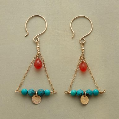 """MIDDAY SUN EARRINGS--Bold carnelian catches the eye, like hot sun over a turquoise sea. Hammered, 14kt goldfilled disc reflects the setting sun. 14kt goldfilled wires. USA. Approx. 2-1/2""""L."""