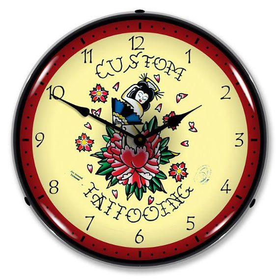 Antique Style Tattoo Rose Led Lighted Backlit Clock Clock Unique Clocks Wall Clock