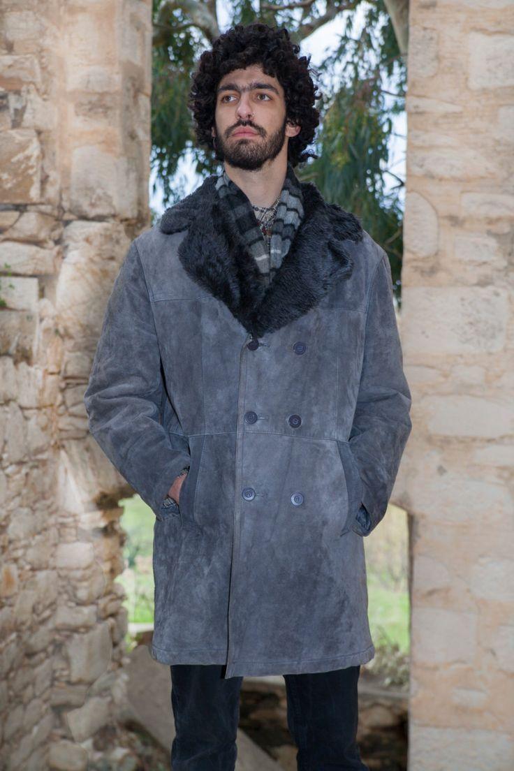Vintage Sheepskin coat, Men's, Real Leather, Black fur inside - Grey Pork Velour outside by MagicBusVintageGoods on Etsy
