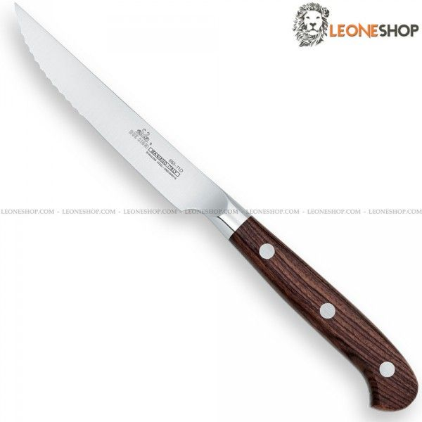 "Forged Steak Knife with serrated edge DUE CIGNI Italy, tableware, steak and kitchen knives in stainless steel 4116 - HRC 55/57 - X50Cr15MOV of high quality and Rosewood handle, a precious wood, tough, durable and with high porosity dark brown with black streaks - Stainless steel rivets - Blade lenght 4.3"" ​​- DUE CIGNI Italy Professional forged kitchen knife, a truly exceptional product with quality materials and an excellent Italian design, guarantee of elegance in your kitchen."