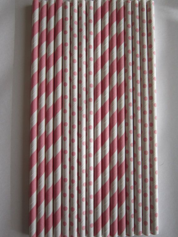 24 Light Pink Striped / Light Pink Small Polka by DKDeleKtables