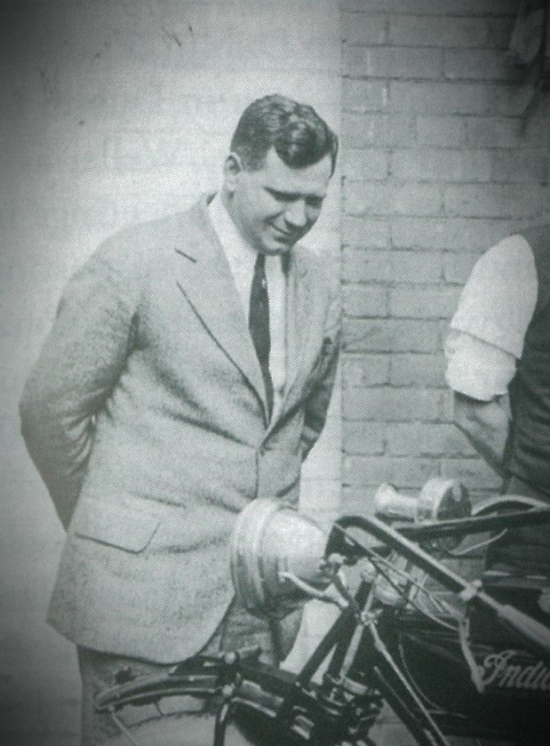 Frank Weschler, long term employee of Indian Motorcycles, helped Indian bring their sales up with the Indian Scout in the 1920s. Here he is with an early Indian motorcycle. For more info visit transportworld.nz