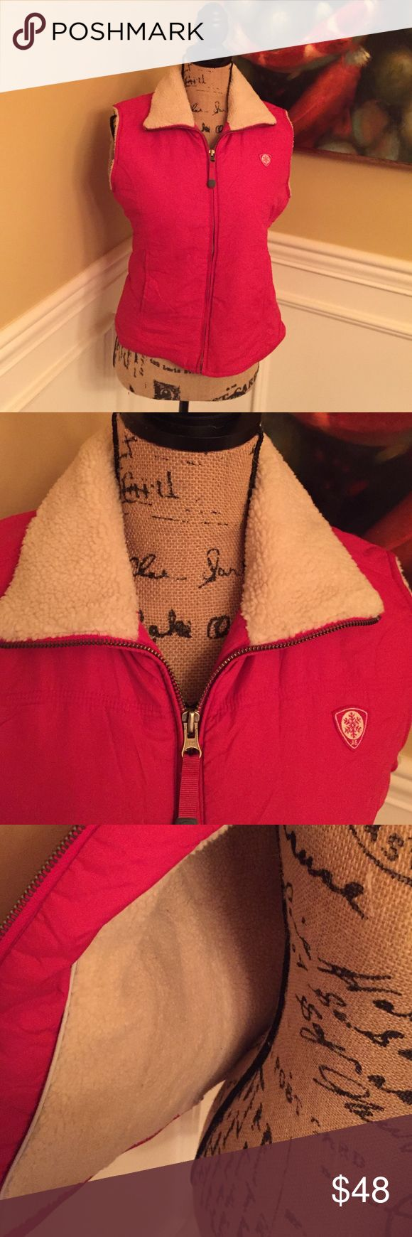 American Eagle Outfitters puffer vest in red Size medium and lined in cream and in great shape American Eagle Outfitters Jackets & Coats Vests