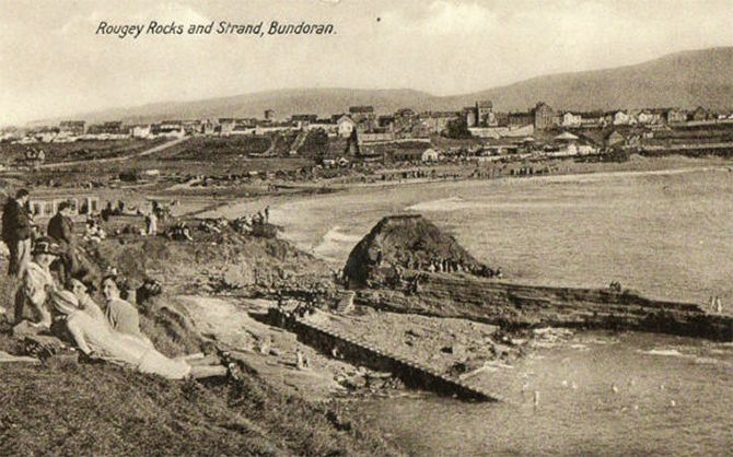 "Historical Picture of Bundoran, Co. Donegal, Bundoran or as it is known in Irish ""Bun Dobhrain"" which means the foot of the little water, was actually up untill over a century ago 2 seperate villages . In between these two seperate communities lay the historic townland of Drumacrin."