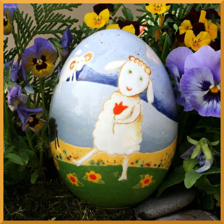 ceramiczne jajko malowane szkliwami, majolika,  Danuta Rożnowska-Borys -BorysArt