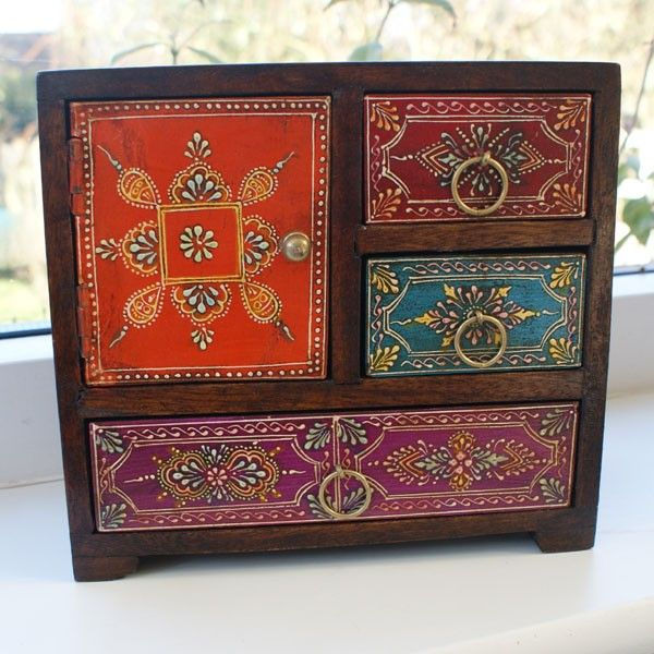 Hand Painted Mini Chest Of 3 Drawers From India Muebles
