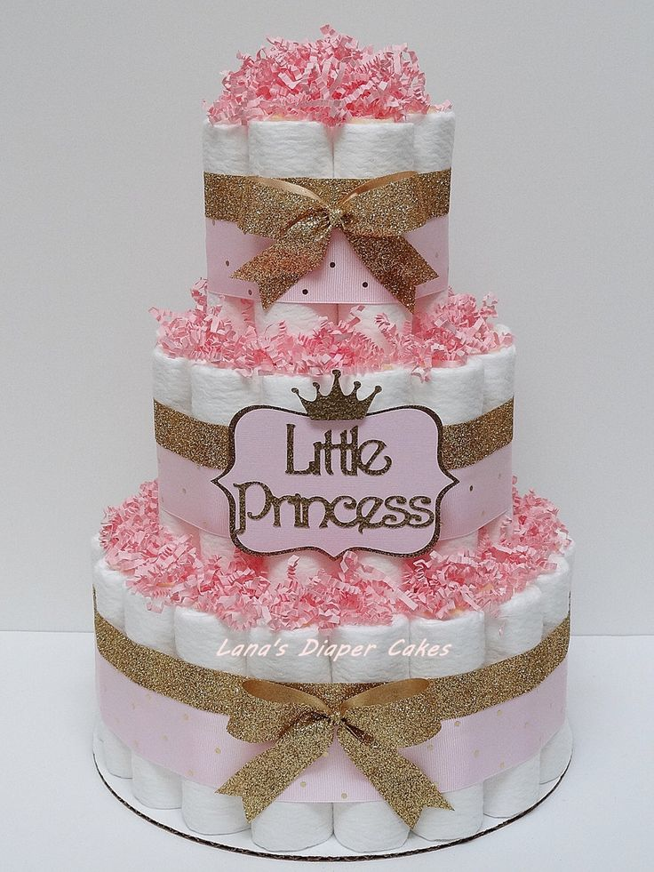 pink and gold little princess diaper cake baby shower centerpiece