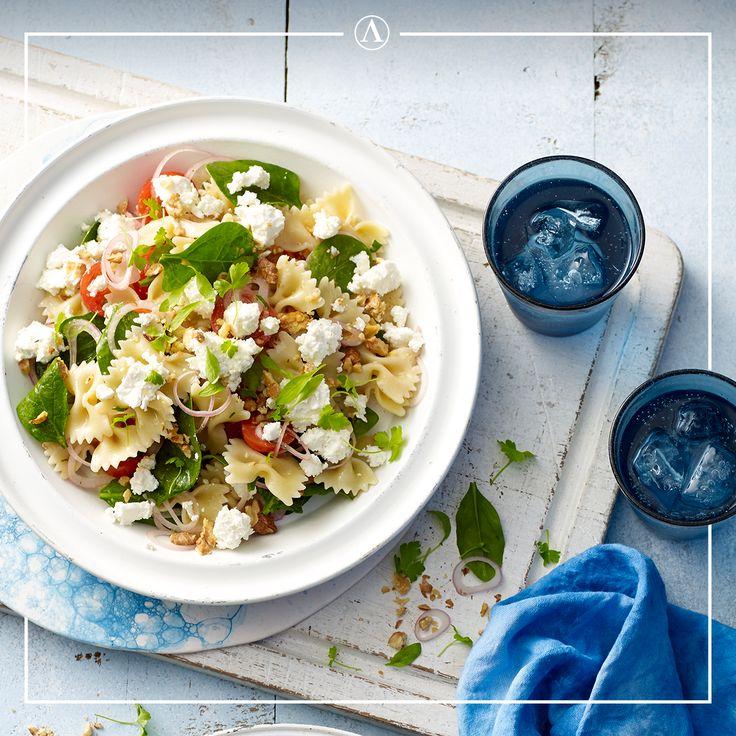 Spinach, Walnut & Fetta Pasta Salad   #summerrecipes #easyrecipes #Mediterranean #cheese #Lemnos