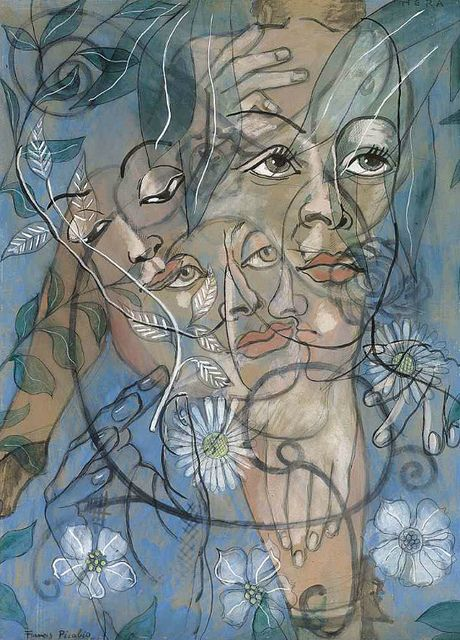 Francis Picabia - Hera  1929. His highly abstract planar compositions were colourful and rich in contrasts. He was one of the early major figures of the Dada movement in the United States and in France. His was later briefly associated with Surrealism, but would soon turn his back on the art establishment.