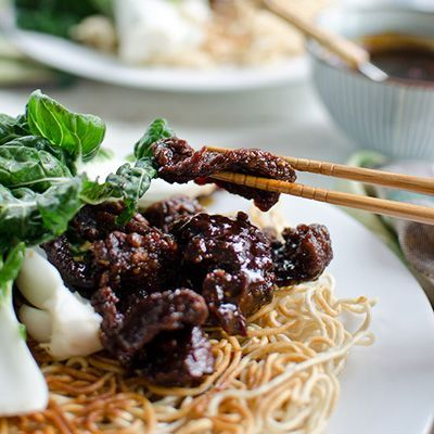 Mongolian Beef and Baby Bok Choy Stir Fry with Crispy Chow Mein Noodles Recipe - Delish.com