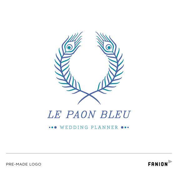 Premade logo   Peacock logo   Feather logo   Bird logo   Wedding planner logo…