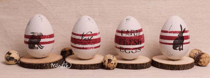 easter eggs - antique grain-sack design