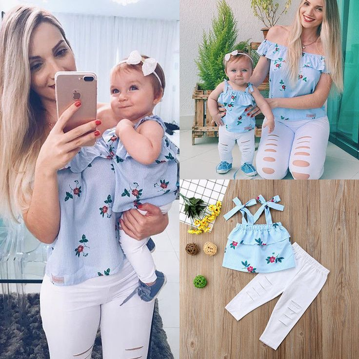 48ec628db2a8f5 USA Floral Mother and Daughter Matching Outfits Striped Tops Hole Pants  Clothes #Canis #Everyday