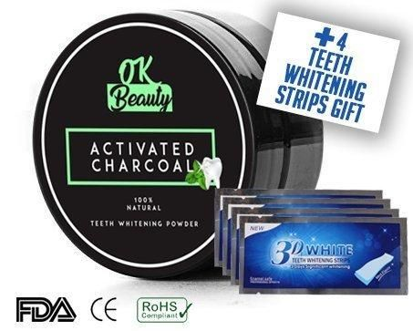 Natural Activated Charcoal Teeth Whitening New Formula Natural Powder Black Powder Organic Toothpaste More Effective -Mint Flavor-With Gift Free 4 Teeth Whitening Strips by OK-Beauty
