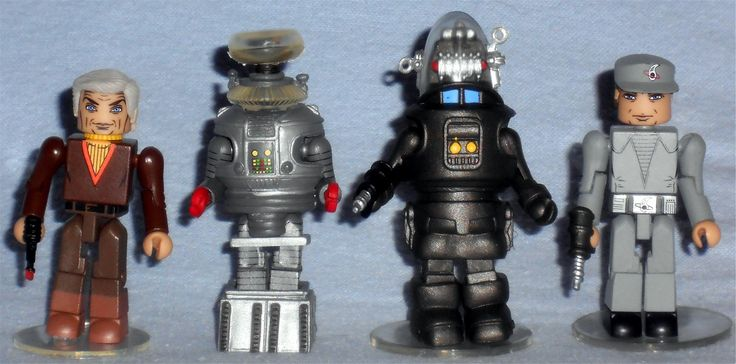 """MiniMates - From """"Lost in Space"""" and """"Forbidden Planet"""" Dr. Zachary Smith & Robot B-9 Robby the Robot & C-57D Crew Member"""