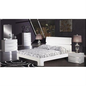 Cambridge 4 Piece Bedroom Suite in High Glossy White (Queen Bed, 2xBedsides, Tallboy)