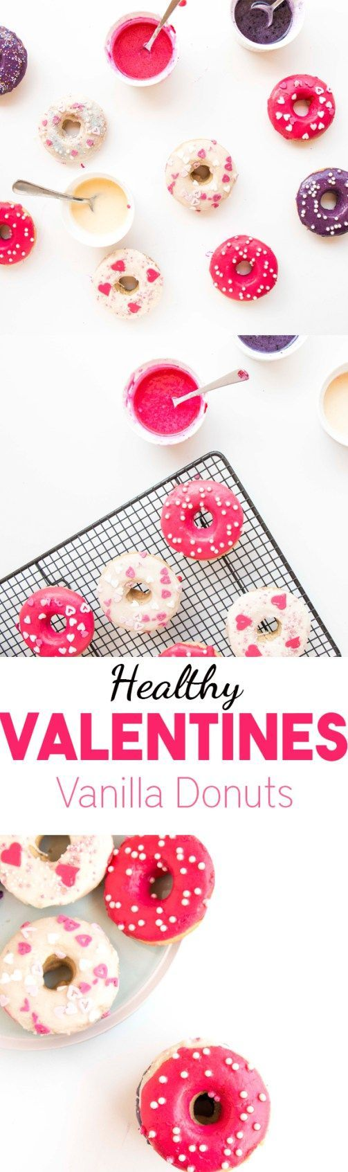 Healthy Valentines Vanilla Donuts - A delicious, beautiful and healthy valentines dessert recipe that you can whip up in minutes. #healthy #valentinesday