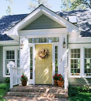 Sage Green House With White Trim And Yellow Door Lake Front Porch Design Cottage Style Homes