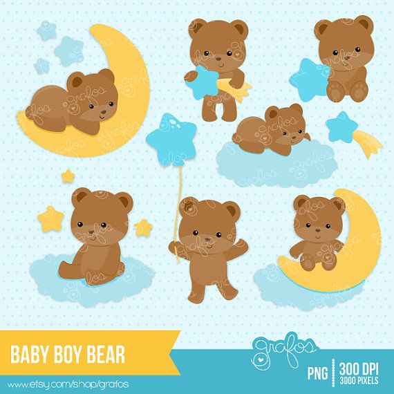 BABY BOY BEAR Digital Clipart, Baby Bear Clipart, Bear Clipart / Instant Download