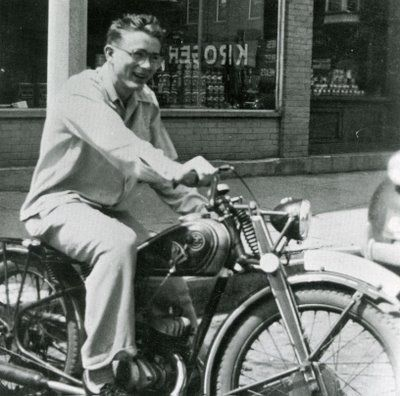 """Hope for teenage nerds everywhere...a young James Dean (before his teenage angst set in) on his first motorcycle.  A 1947 CZ 125-cc which he purchased at age 15.  People in his small Indiana hometown said he """"only had one speed on that bike...wide open."""""""