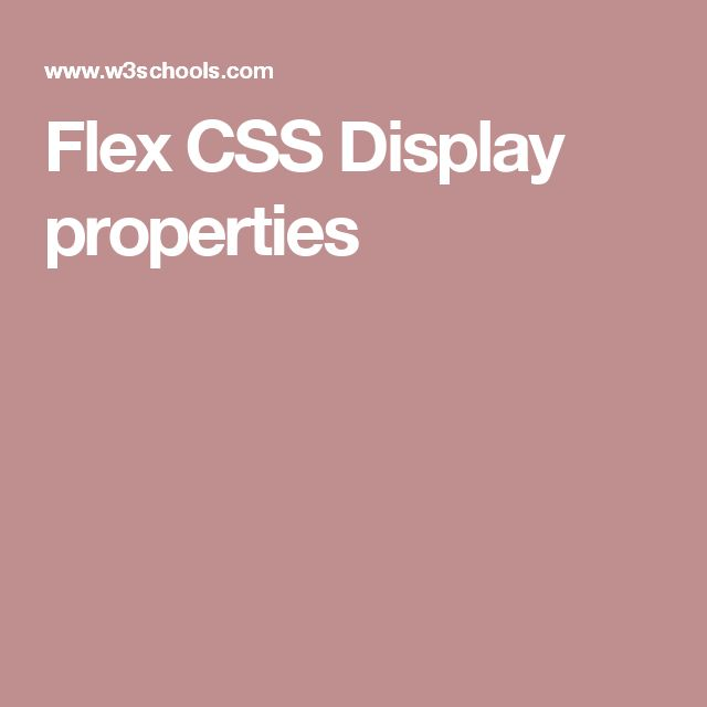 Flex CSS Display properties