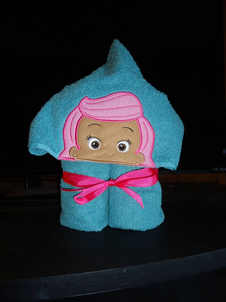 Pink Fish Girl Hooded Bath Towel, Seafoam Green Towel, by Marshaslilcraftpatch on Etsy