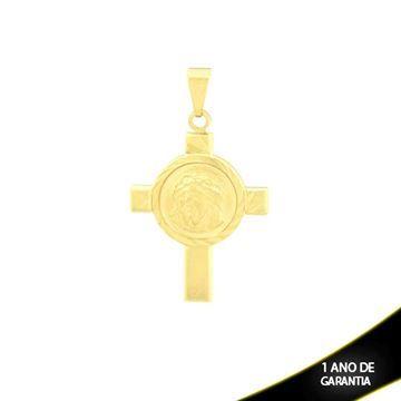 Mostrar detalhes para Pingente Cruz com Face de Cristo no Meio e Diamantado em Volta - 0303830