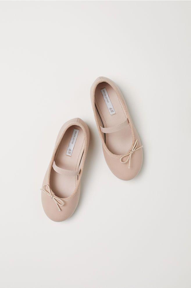 Leather Ballet Flats - Powder beige