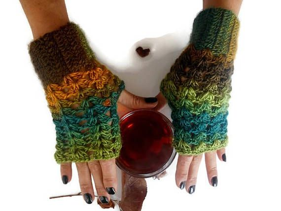 Green Fingerless Glove, crochet Finger Glove, Knit Finger Glove, Handmade Glove, Winter Glove, Hand Warmer, Winter Accessories, Knit Gloves     .100% handmade.  Colored acrylic yarn.  Made of soft batik colored yarn.  Boho-style gloves.  You can wear these arm warmers with any clothes.  These handheld heaters are soft and comfortable.  It will add elegance to your hand.  COLOR: green tones, brown, mustard  CAUTION: Width 3 /// Height 7.5  Maintenance Instruction  Hand wash in w...